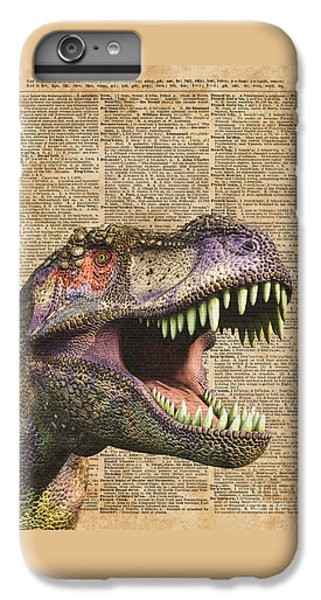 T-rex,tyrannosaurus,dinosaur Vintage Dictionary Art IPhone 7 Plus Case by Jacob Kuch