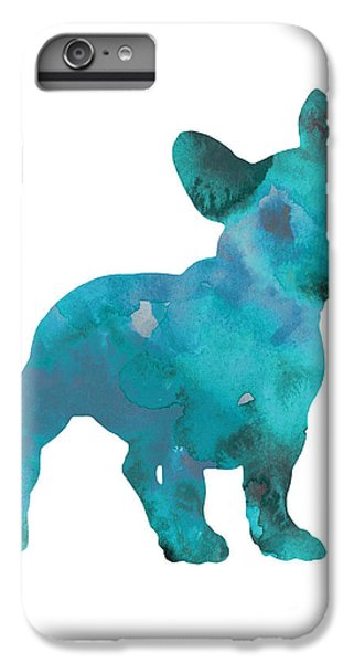 Dog iPhone 7 Plus Case - Teal Frenchie Abstract Painting by Joanna Szmerdt