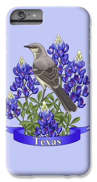 Mockingbird iPhone 7 Plus Case - Texas State Mockingbird And Bluebonnet Flower by Crista Forest