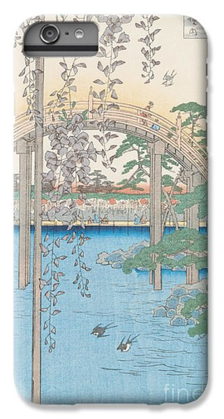 Swallow iPhone 7 Plus Case - The Bridge With Wisteria by Hiroshige