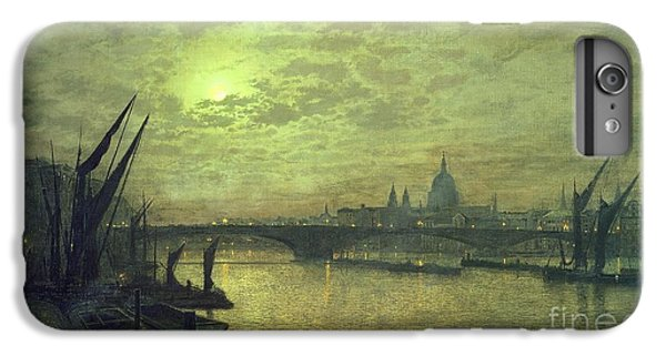 The Moon iPhone 7 Plus Case - The Thames By Moonlight With Southwark Bridge by John Atkinson Grimshaw