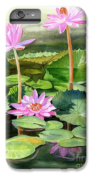 Lily iPhone 7 Plus Case - Three Pink Water Lilies With Pads by Sharon Freeman