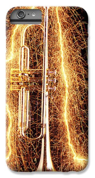 Music iPhone 7 Plus Case - Trumpet Outlined With Sparks by Garry Gay