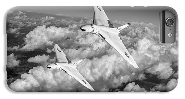 IPhone 7 Plus Case featuring the photograph Two Avro Vulcan B1 Nuclear Bombers Bw Version by Gary Eason