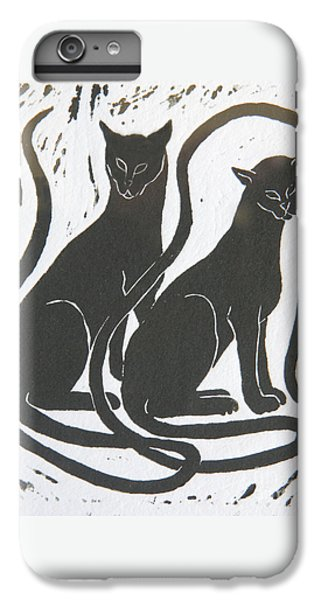 IPhone 7 Plus Case featuring the drawing Two Black Felines by Nareeta Martin