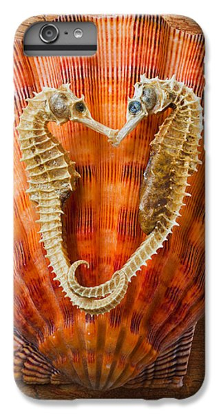Seahorse iPhone 7 Plus Case - Two Seahorses On Seashell by Garry Gay