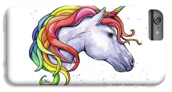 Unicorn iPhone 7 Plus Case - Unicorn With Rainbow Mane by Olga Shvartsur