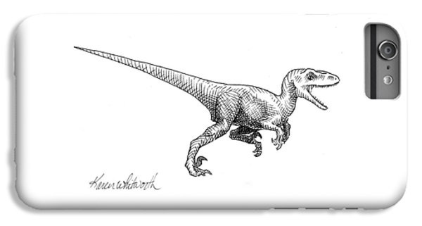 Velociraptor - Dinosaur Black And White Ink Drawing IPhone 7 Plus Case by Karen Whitworth