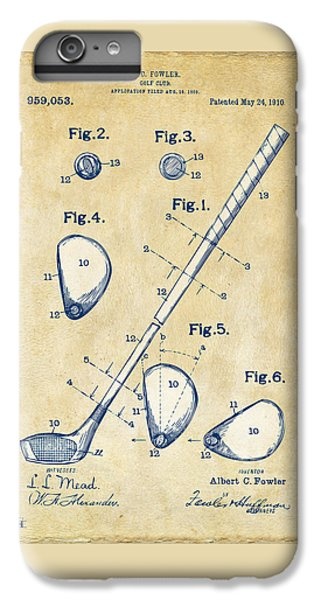 Vintage 1910 Golf Club Patent Artwork IPhone 7 Plus Case by Nikki Marie Smith