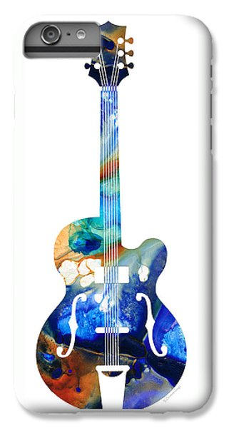 Music iPhone 7 Plus Case - Vintage Guitar - Colorful Abstract Musical Instrument by Sharon Cummings