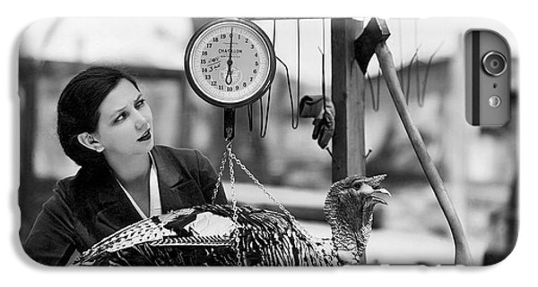Vintage Holiday Card   Woman Weighing A Turkey Ahead Of The Holidays IPhone 7 Plus Case by American School