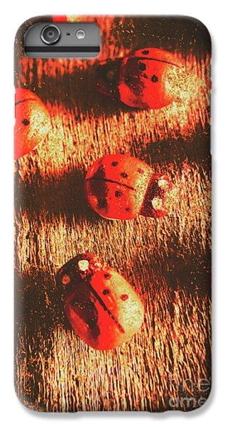 Ladybug iPhone 7 Plus Case - Vintage Wooden Ladybugs by Jorgo Photography - Wall Art Gallery
