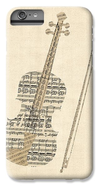Violin iPhone 7 Plus Case - Violin Old Sheet Music by Michael Tompsett
