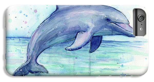 Marine iPhone 7 Plus Case - Watercolor Dolphin Painting - Facing Right by Olga Shvartsur