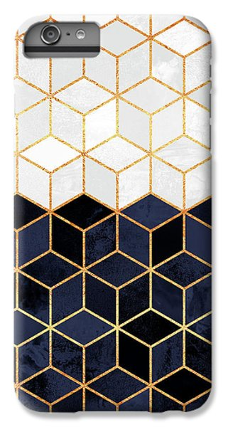 Blue iPhone 7 Plus Case - White And Navy Cubes by Elisabeth Fredriksson
