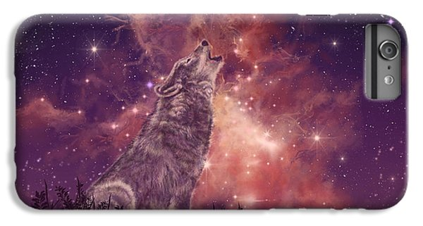 Mountain iPhone 7 Plus Case - Wolf And Sky Red by Bekim Art