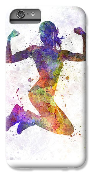 Athletes iPhone 7 Plus Case - Woman Runner Jogger Jumping Powerful by Pablo Romero