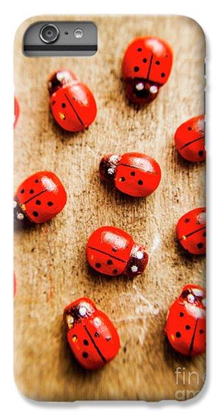 Ladybug iPhone 7 Plus Case - Wooden Ladybugs by Jorgo Photography - Wall Art Gallery