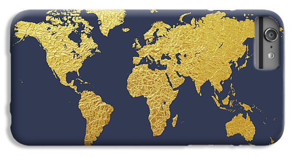 Planets iPhone 7 Plus Case - World Map Gold Foil by Michael Tompsett