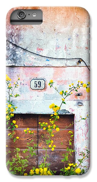 IPhone 7 Plus Case featuring the photograph Yellow Flowers And Decayed Wall by Silvia Ganora