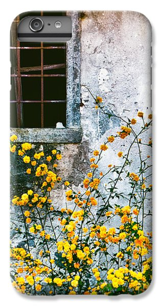 IPhone 7 Plus Case featuring the photograph Yellow Flowers And Window by Silvia Ganora