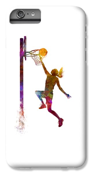 Young Woman Basketball Player 04 In Watercolor IPhone 7 Plus Case by Pablo Romero