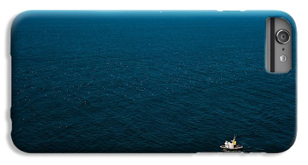 Sailboat iPhone 7 Plus Case - Aerial View Of A Lonely Boat In The by Alberto Pérez Veiga