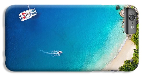 Sailboat iPhone 7 Plus Case - Amazing View To Yacht In Bay With Beach by Im photo
