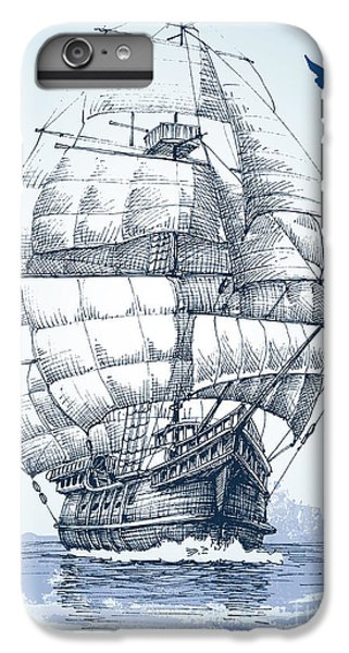 Sailboat iPhone 7 Plus Case - Boat On Sea Drawing. Sailboat Vector by Danussa