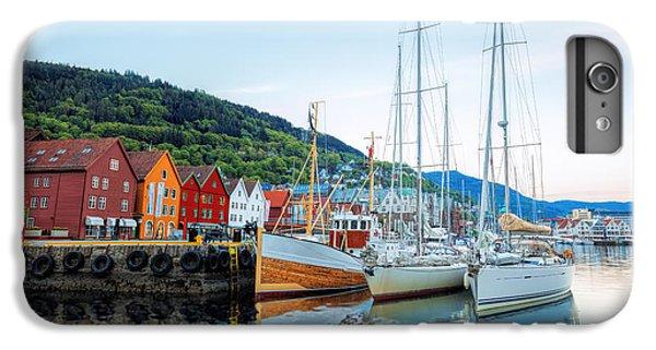 Sailboat iPhone 7 Plus Case - Bryggen Street With Boats In Bergen by Samot