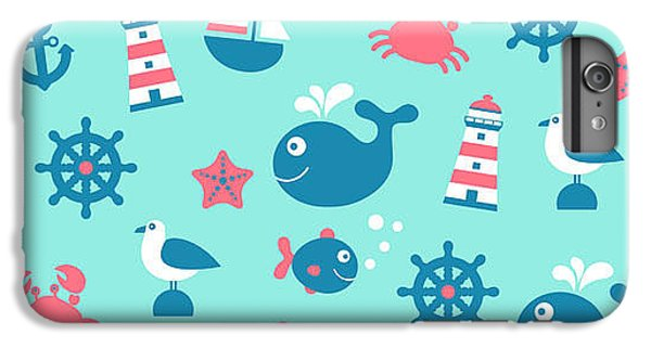 Sailboat iPhone 7 Plus Case - Childish Vector Nautical Seamless by Yulistrator