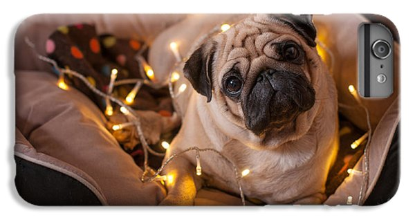 Pug iPhone 7 Plus Case - Christmas Dog With Garland In Bed On by Nuraam