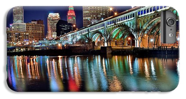 Lake Superior iPhone 7 Plus Case - Cleveland Ohio Skyline Reflects Colorfully by Frozen in Time Fine Art Photography