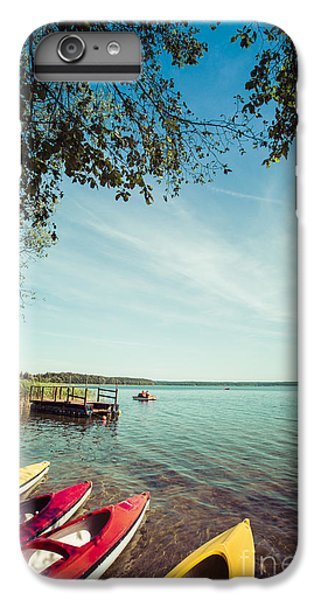 Sailboat iPhone 7 Plus Case - Colorful Kayaks Moored On Lakeshore by Curioso