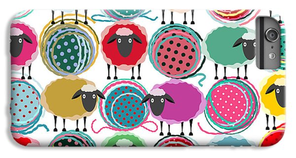 Craft iPhone 7 Plus Case - Colorful Seamless Sheep And Yarn Balls by Popmarleo