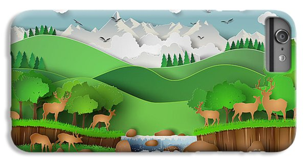 Craft iPhone 7 Plus Case - Deer In The Forest With A by Keng  Merry Paper Art