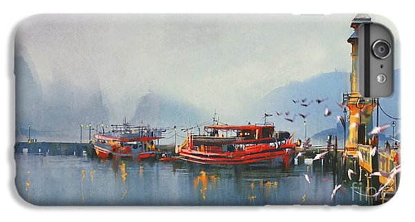 Ship iPhone 7 Plus Case - Fishing Boat In Harbor At by Tithi Luadthong