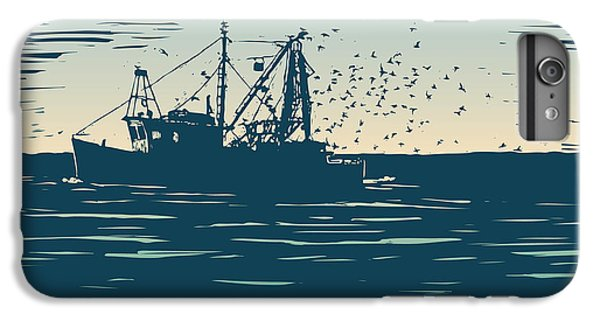 Craft iPhone 7 Plus Case - Fishing Schooner, Sea And Sea Gulls by Jumpingsack