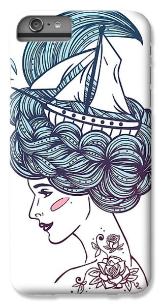 Ship iPhone 7 Plus Case - Hand Drawn Color Artwork Of A Dreaming by Monomoon