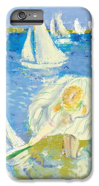 Sailboat iPhone 7 Plus Case - Image Of A Little Girl Who Plays On The by Dmitriip