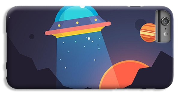 Ship iPhone 7 Plus Case - Night Alien World Landscape And Ufo by Iconic Bestiary