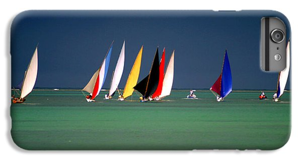Sailboat iPhone 7 Plus Case - Pirogues On The Horizon In Front Of by Paul Banton