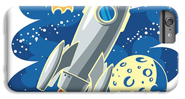 Ship iPhone 7 Plus Case - Rocket Flying Through Outer Space by Biterbig