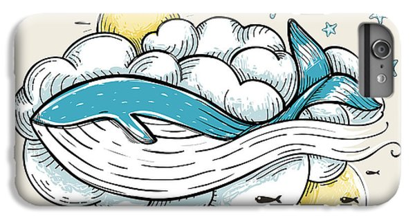 Marine iPhone 7 Plus Case - Romantic Whale Swimming In Clouds Retro by Popmarleo
