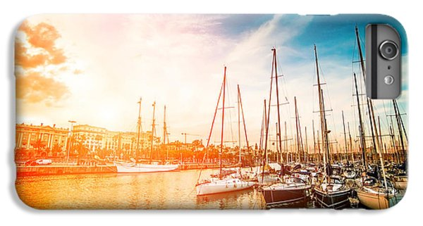 Sailboat iPhone 7 Plus Case - Sea Bay With Yachts At Sunset by In Green