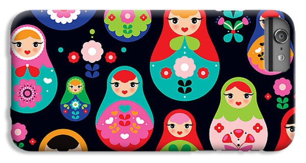 Craft iPhone 7 Plus Case - Seamless Colorful Retro Russian Doll by Maaike Boot