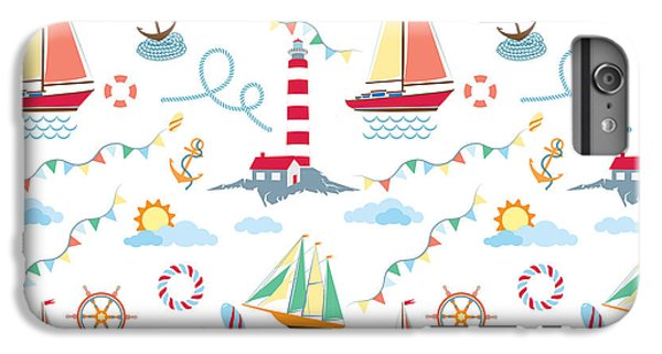 Sailboat iPhone 7 Plus Case - Seamless Marine Pattern With Ships by Julia kondakov
