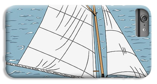 Sailboat iPhone 7 Plus Case - Vector Wooden Yacht With A Captain On by Kavalenkau