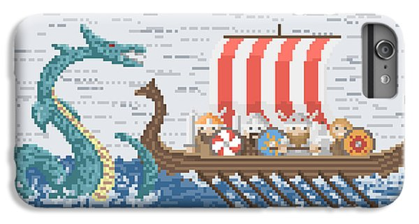 Boats iPhone 7 Plus Case - Vikings Battle With The Sea Dragon by Wild Wind