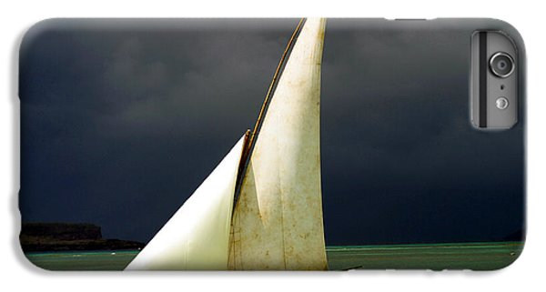 Sailboat iPhone 7 Plus Case - White Sailed Pirogue On The Ocean by Paul Banton